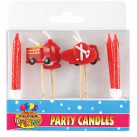 Fire Engine Pick Candles  & 4 Candles & Holders