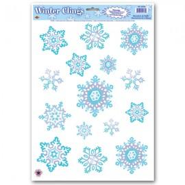 Snowflake Window Clings Blue & White
