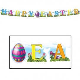 Banner Streamer Happy Easter with Egg,