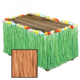 Table Skirt Artificial Natural Grass Flowered