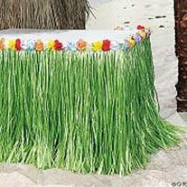 Table Skirt Artificial Grass - Flowered