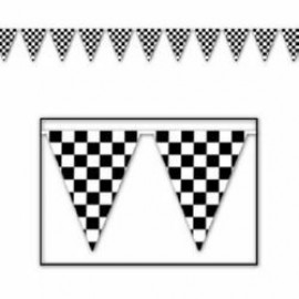 Banner Pennant Checkered Black & White