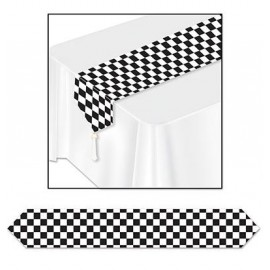 Checkered Table Runner Black & White 1.83m