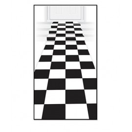 Checkered Floor Runner Black & White