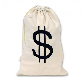 Big Money Bag $ with Drawstring Calico Fabric