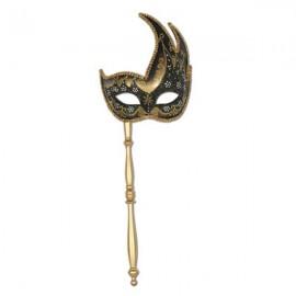 Glittered Mask Gold & Black with multi-coloured trim