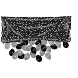 Balloon Release Drop Bag Black & Silver Stars