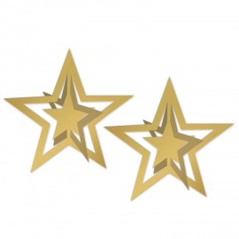 Stars 3D Gold Decorations Cutouts Foil 30cm