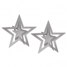 Stars 3D Silver Decorations Cutouts Foil 30cm
