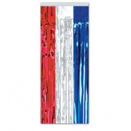 Metallic Fringe Curtain Red, White & Blue