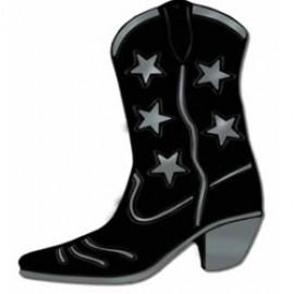 Cutout Silhouette Foil Cowboy Boot Black