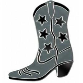 Cutout Silhouette Foil Cowboy Boot Silver