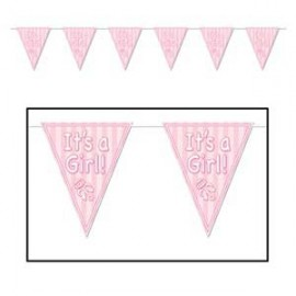 Banner Pennant It's A Girl Pink Rattle