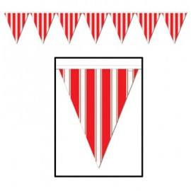 Banner Pennant Striped Red & White
