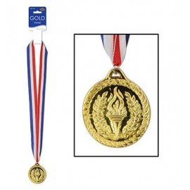 Gold Sports Medal & Ribbon