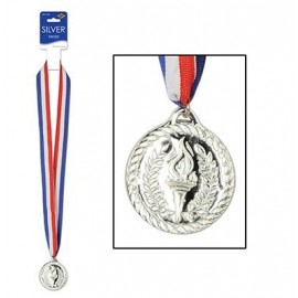 Silver Sports Medal & Ribbon