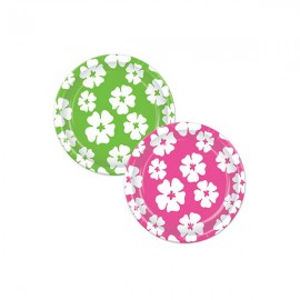 Hibiscus Lunch Plates Pink & White & Green & White