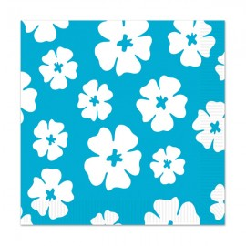 Hibiscus Lunch Napkins Blue & White