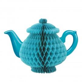 Centrepiece Teapot Honeycomb Blue Tissue