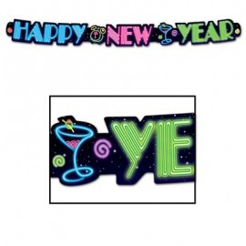 Streamer Banner Happy New Year Neon