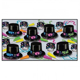 Party Pack Box New Year Neon for 50 People