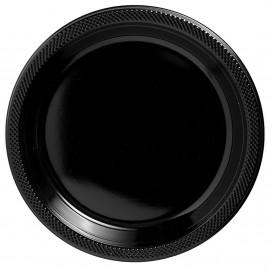 Dinner Plates Jet Black Plastic 23cm
