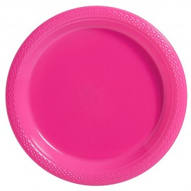Dinner Plates Bright Pink Plastic 23cm