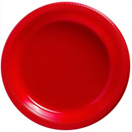Dinner Plates Apple Red Plastic 23cm
