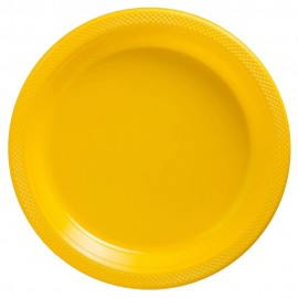 Banquet Plates Yellow Sunshine Plastic 26cm