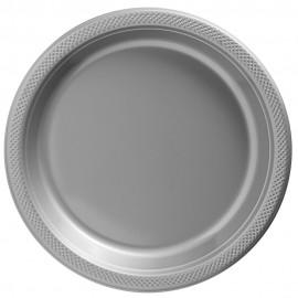 Banquet Plates Silver Plastic 26cm