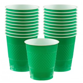Cups Festive Green 355ml Plastic