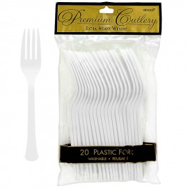 Forks Frosty White Heavy Duty Plastic