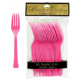 Forks Bright Pink Heavy Duty Plastic