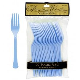 Forks Pastel Blue Heavy Duty Plastic