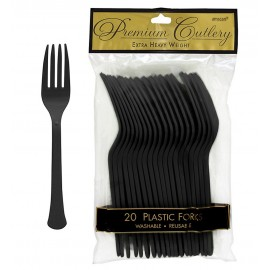 Forks Jet Black Heavy Duty Plastic