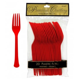 Forks Apple Red Heavy Duty Plastic