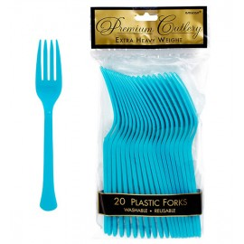 Forks Caribbean Blue Heavy Duty Plastic