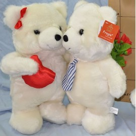 Soft Toy 22cm Double Bears White,