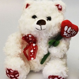 Soft Toy 25cm White with Flower Heart 'Rosie'