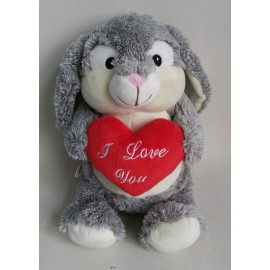 Soft Toy 28cm Bunny Rabbit & I Love You Heart