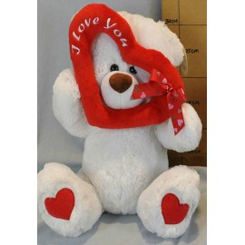 Soft Toy 25cm Bear White & Heart Frame I Love You