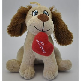Soft Toy 20cm Dog & Love Heart