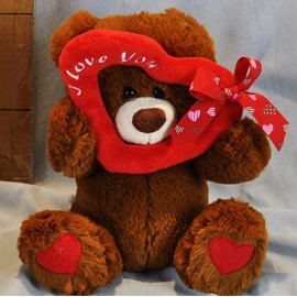 Soft Toy 25cm Bear Brown & Heart Frame I Love You