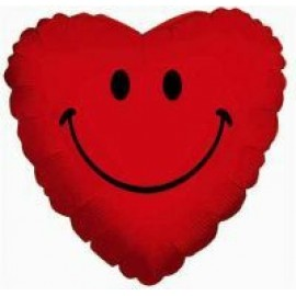 10cm Smiley Heart - Red (Flat)