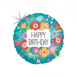 10cm Happy Birthday Wildflowers (Flat)
