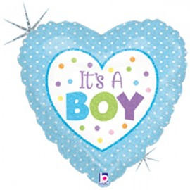 10cm It's A Boy Baby Dots (Flat)