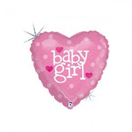 22cm Baby Girl Hearts Pink (Inflated)