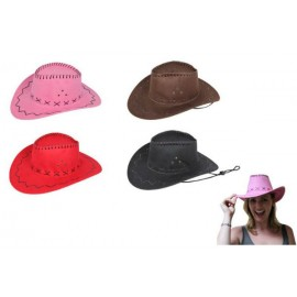Hat Cowboy Suede Look Assorted Colours