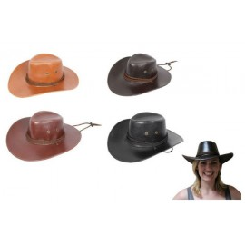 Hat Cowboy Leather Look Assorted Colours