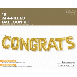 Congrats Gold Hanging Kit Air Fill Only